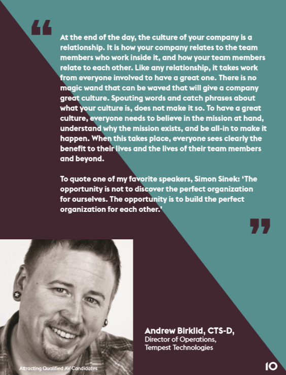 AVIXA publishes brochure on Attracting Qualified AV Candidates, Tempest's Andrew Birklid Shines