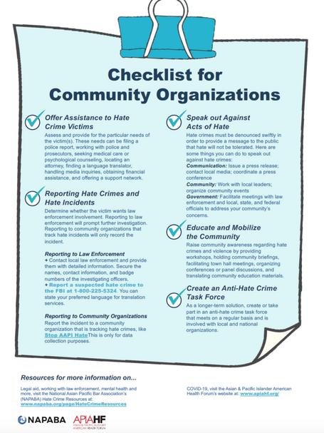 Checklist for Community Organizations
