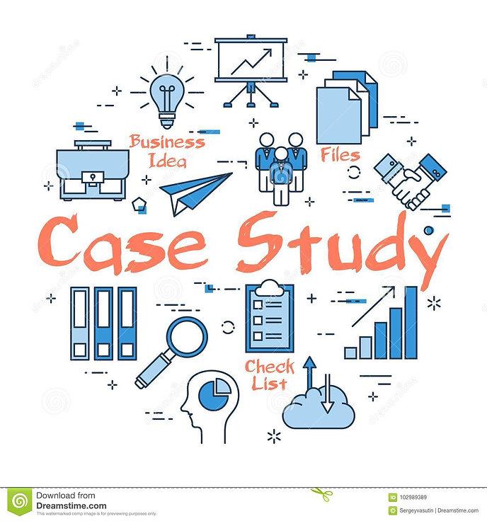 conceito-redondo-azul-do-estudo-de-caso-