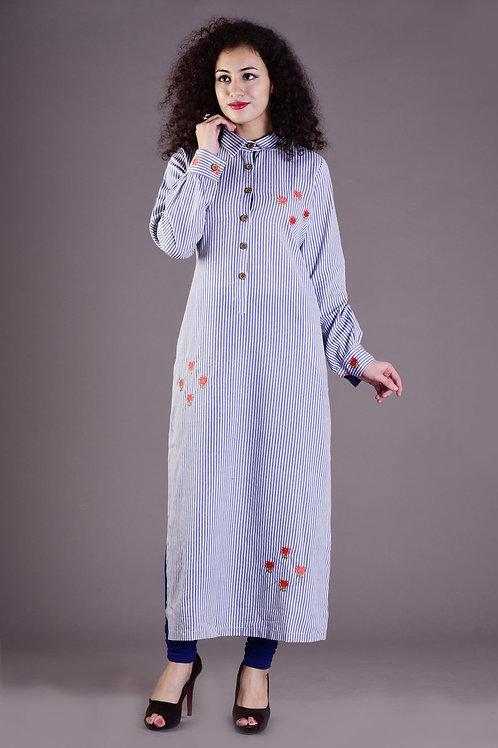 Women's Cotton Embroidered Straight Kurti