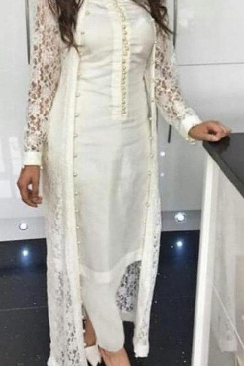 Women's Rayon Designer Kurti Pant With Nated Shrug