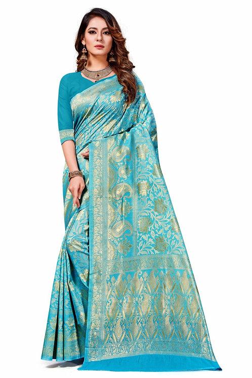 Women's Banarasi Art Silk Saree With Blouse Piece