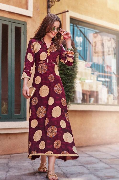 Women's Rayon Designer Long Kurtis