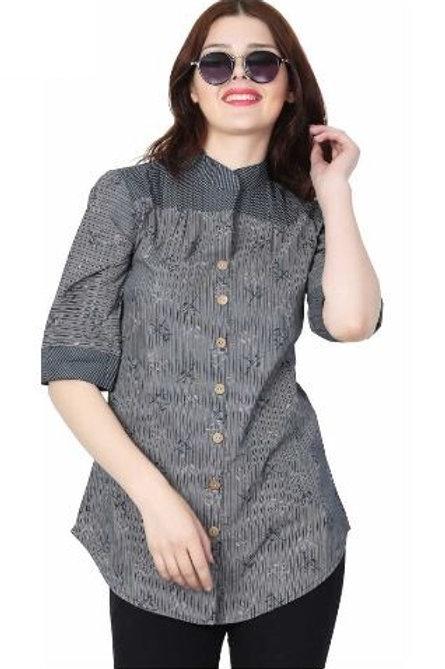 Women's Casual Cotton Grey Shirt
