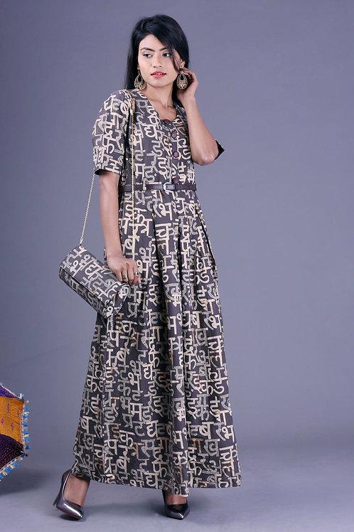 Women's Gold Cotton Printed Kurti With Belt & Bag