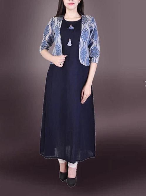 Women's Cotton Slub Solid Kurti With Jacket