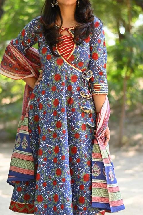 Women's Cotton Printed Anarkali Designer Kurti Pant Dupatta Set