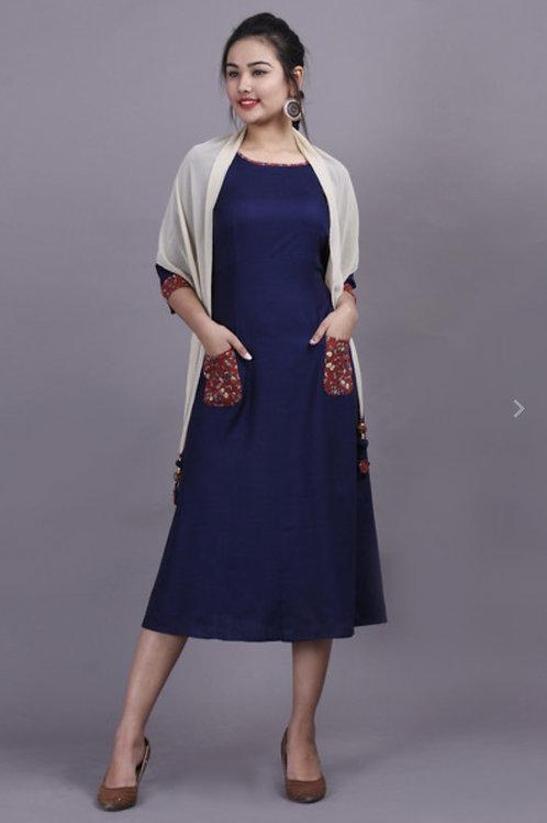 Women's Rayon Slub Designer Long Kurti With Scarf