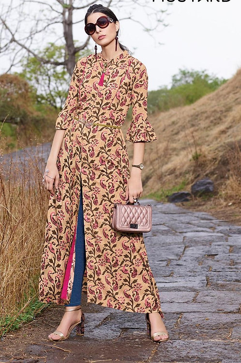 Women's Rayon Long Designer Front Slit Kurti