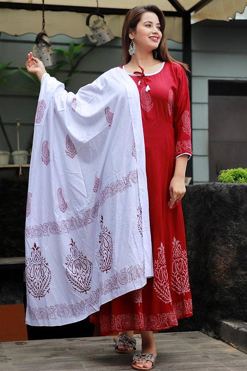 Women's Rayon Printed Designer Long Kurti With Dupatta