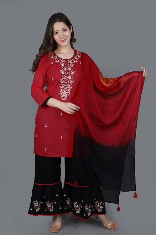 Women's Rayon Embroidered Designer Kurti Sharara Dupatta Set