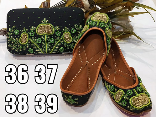 Combo Offer Genuine Leather Jutti With Designer Clutch Set