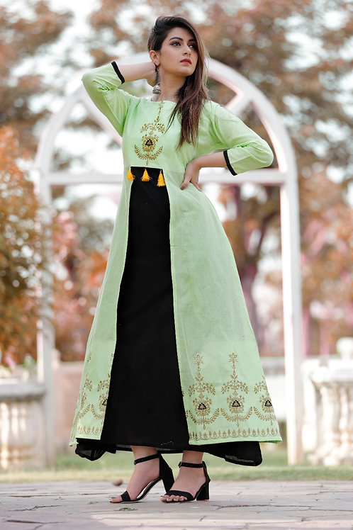 Women's Cotton Double Layer Embroidered Designer Long Kurti