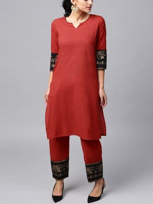 Women's Cotton Printed Kurta Pant Set