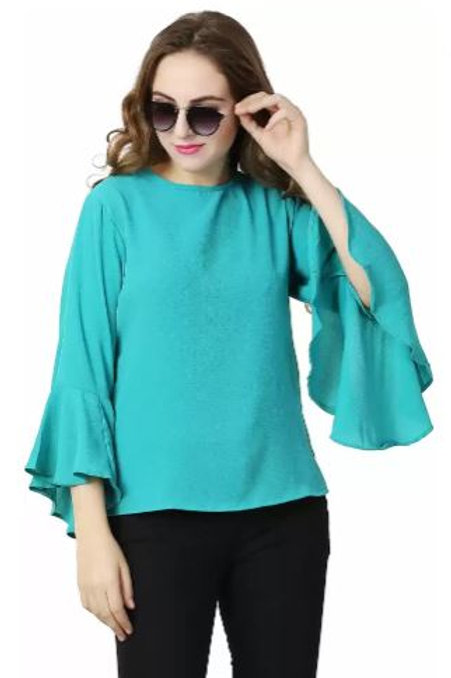 Women's Casual Solid Turquoise Top