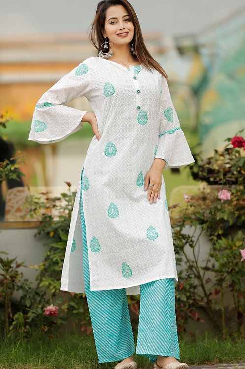 Women's Cotton Printed Designer Kurti Palazzo Set