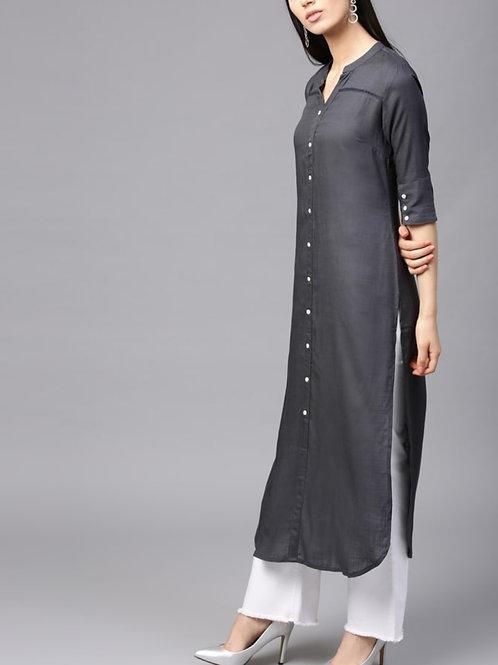 Women's Viscose Rayon Kurti (Grey)