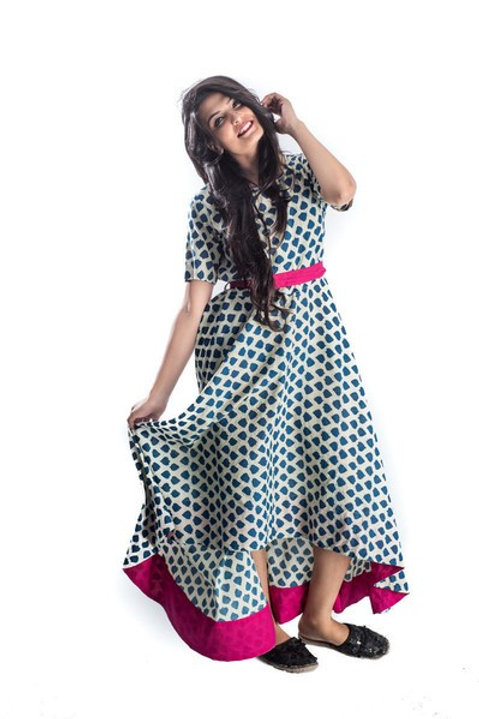 Women's Cotton Printed Asymmetric Long Kurti