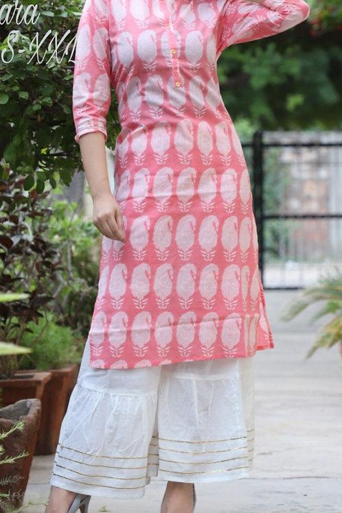 Women's Cotton Printed Kurti Sharara Set