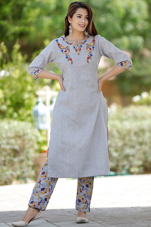 Women's South Cotton Embroidered Designer Kurti Pant Set