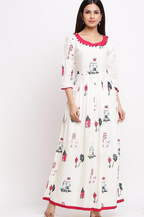 Women's Rayon Printed Long Kurti