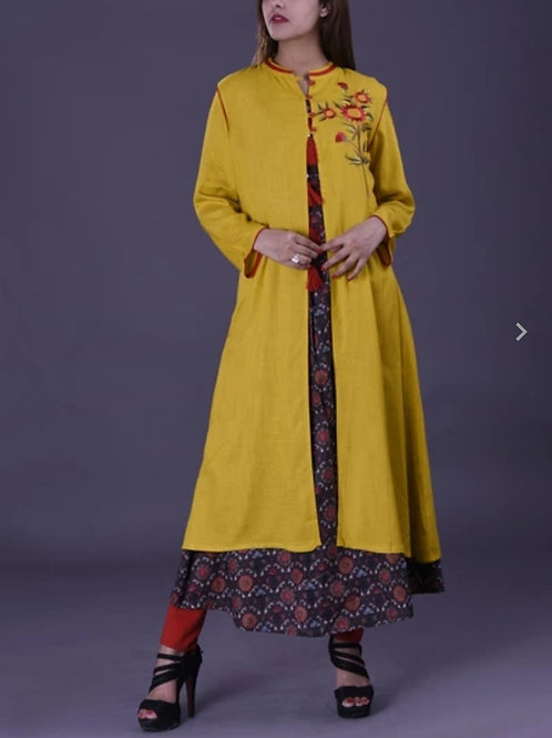 Women's Rayon Slub Double Layer Long Embroidered Kurti
