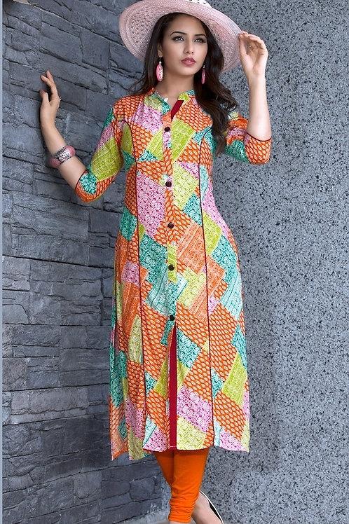 Women's Rayon Printed Front Slit Kurti