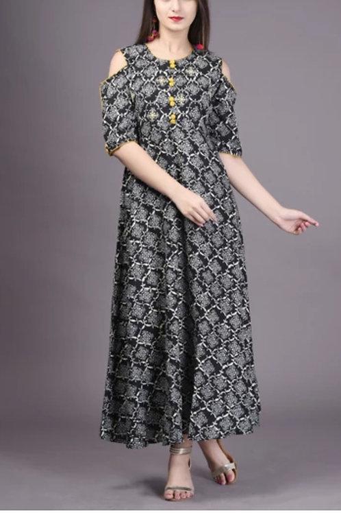 Women's Rayon Off Shoulder Long Kurti