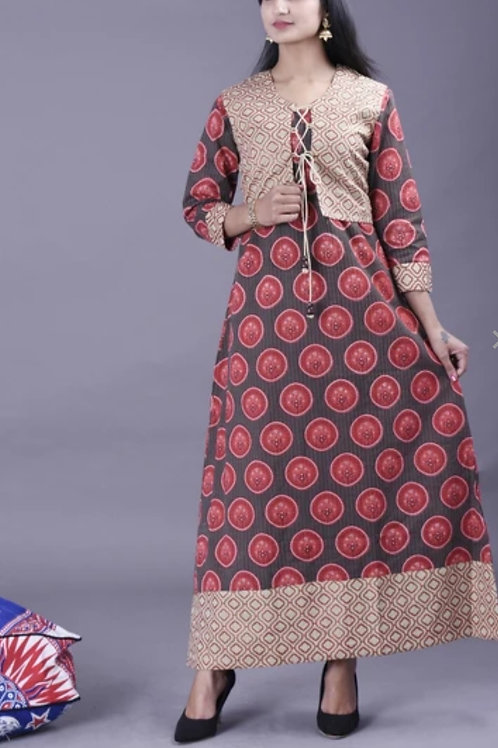 Women's Cotton Printed Kurti With Jacket