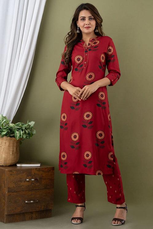 Women's Rayon Printed Designer Kurti Pant Set