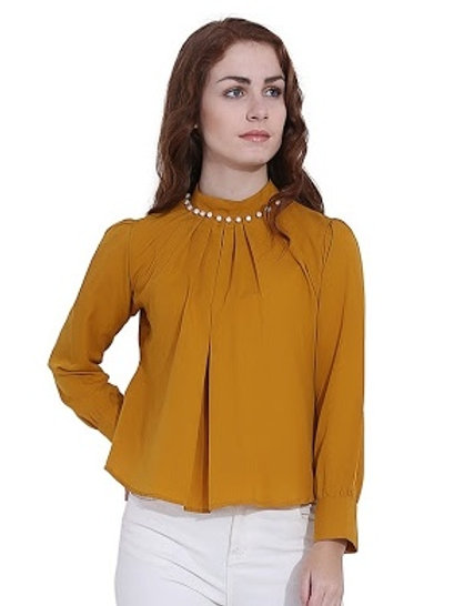 Women's Casual Embellished Yellow Top