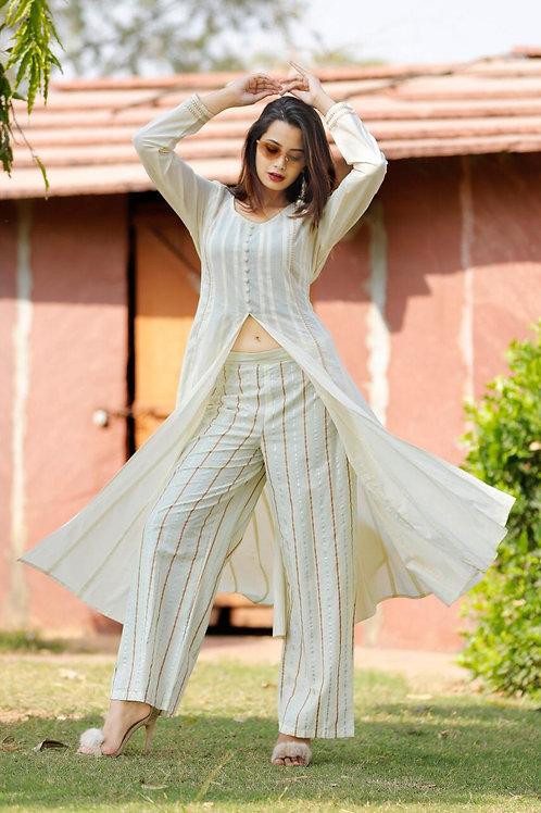Women's Cotton Slub Slit Kurti With Pant
