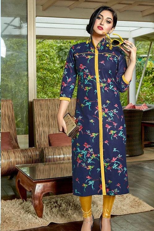 Women's Cotton Printed Designer Front Slit Kurti