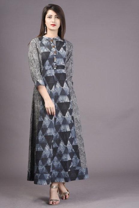 Women's Cotton Printed Long Kurti