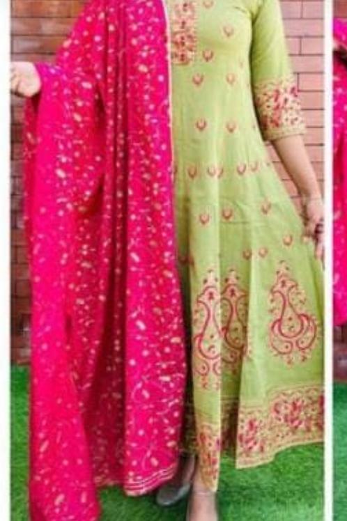 Women's Rayon Printed Kurti with Dupatta Set
