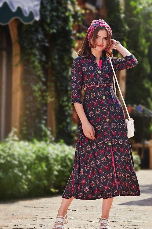 Women's Rayon Designer Front Slit Kurti