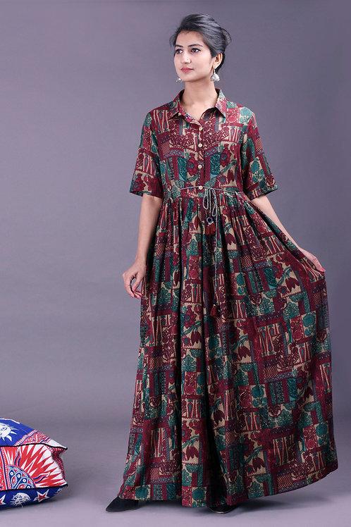 Women's Rayon Printed Kurti With Dori Belt