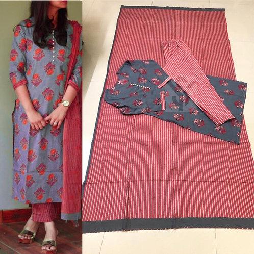 Copy of Women's Cotton Printed Designer Kurti Pant Dupatta Set