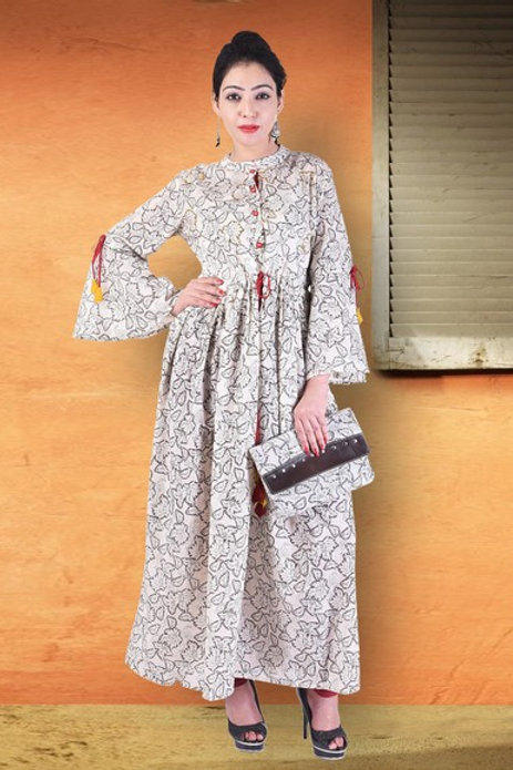 Women's Cotton Printed Designer Long Kurti