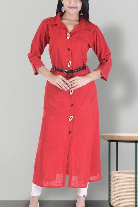 Women's Cotton Slub Solid Kurti With Belt