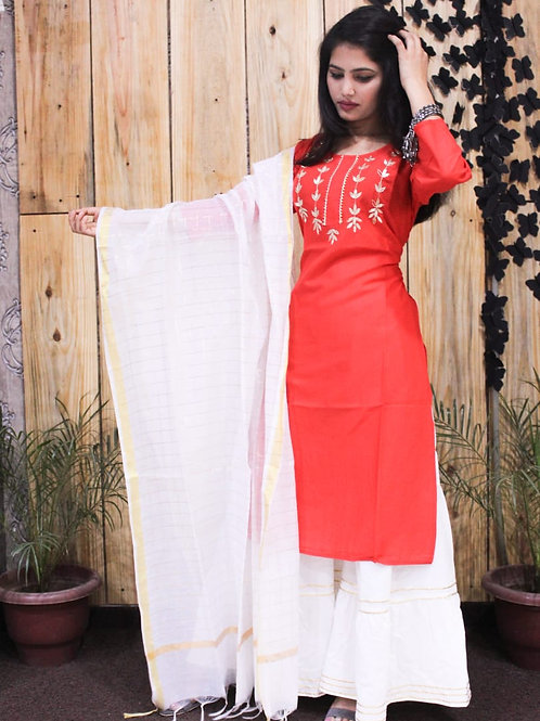 Women's Rayon Designer Kurti Sharara Dupatta Set