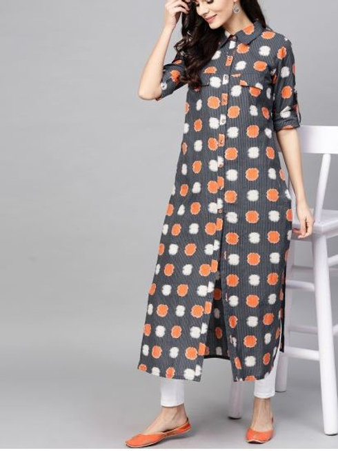 Women's Cotton Printed Front Slit Kurti