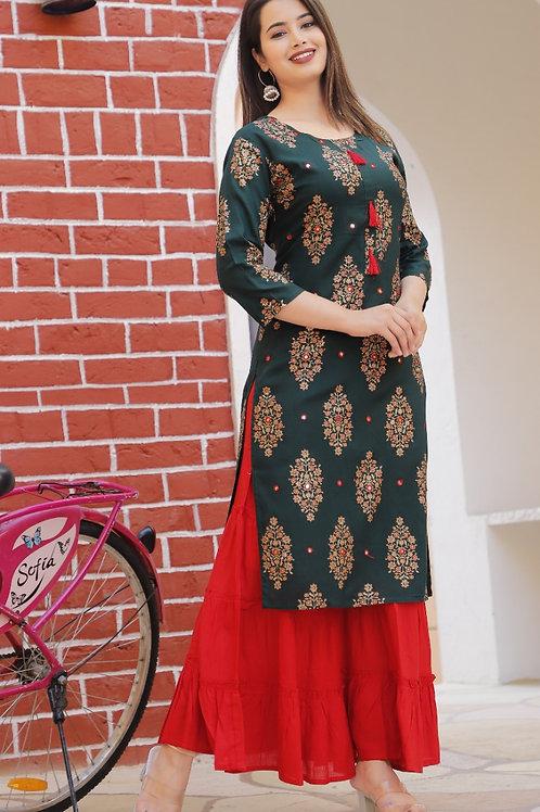 Women's Rayon Printed Designer Kurti Sharara Set