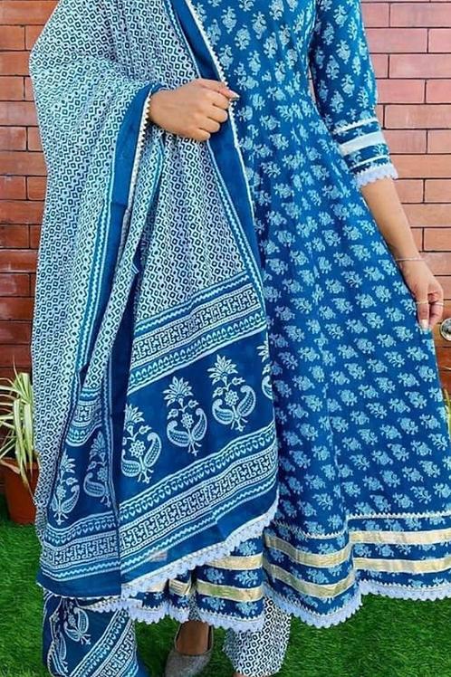 Women's Rayon Printed Anarkali Designer Kurti Pant Dupatta Set