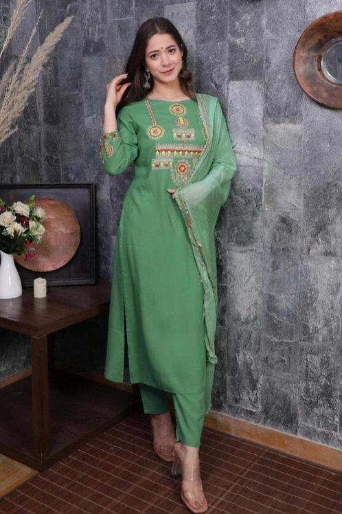 Copy of  Women's Rayon Embroidered Designer Kurti Pant Dupatta Set