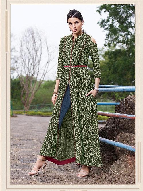 Women's Rayon Front Slit Cold Shoulder Long Kurti