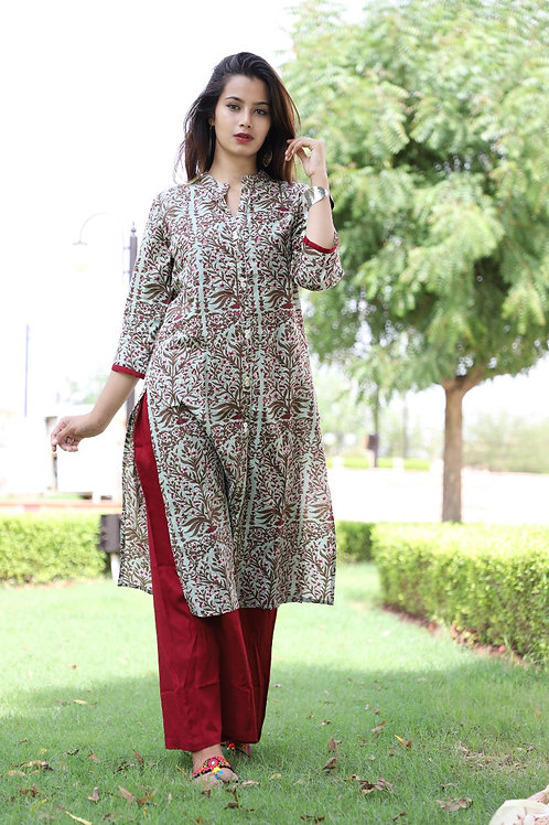 Women's Cotton Printed Kurti Palazzo Set