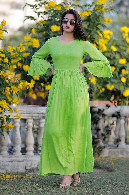 Women's Rayon Slub Designer Long Kurti