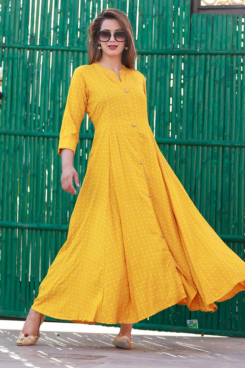 Women's Rayon Printed Designer Long Kurti