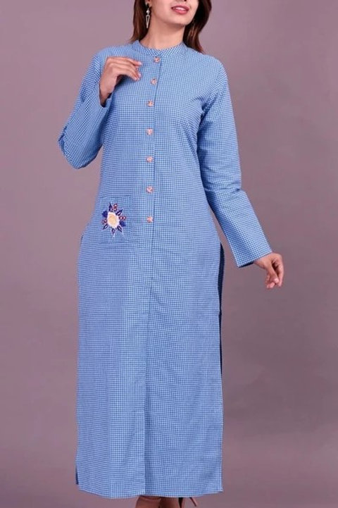 Women's Cotton Embroidered Long Fron Slit Kurti